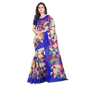 Blue Printed Bhagalpuri Silk Saree