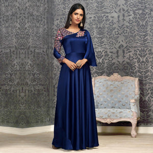 Royal Blue Colored Partywear Embroidered Glowing Georgette Gown