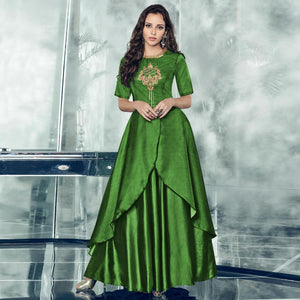 Green Colored Partywear Embroidered Tapetta-Satin Gown
