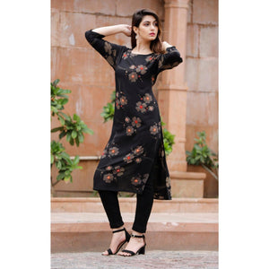 Floral Black Color Rayon Stitched Kurti