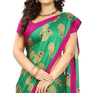 Green Colored Casual Printed Art Silk Saree