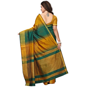 Yellow-Green Colored Casual Printed Cotton Silk Saree
