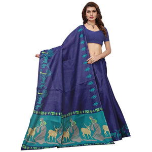 Navy Blue Colored Printed Festive Wear Khadi Silk Saree