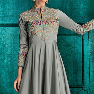 Grey Colored Partywear Embroidered Silk Gown