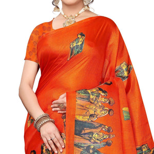 Orange Colored Festive Wear Khadi Silk Saree