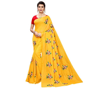Yellow Colored Partywear Embroidered Chanderi Silk Saree