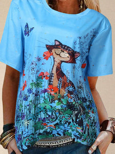 Cartoon Cat Flowers Print Plus Size T-shirt