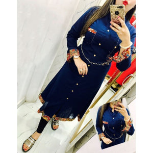 Rayon Blue Plain Semi-Stitched Straight Kurti (Blue)
