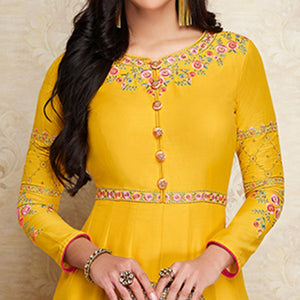 Yellow Colored Partywear Embroidered Cotton Silk Gown