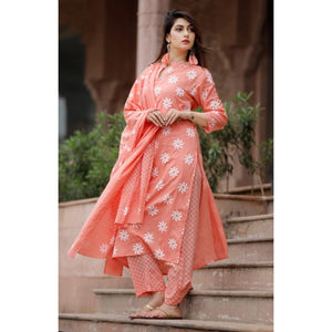 Latest Peach Color Lining Palazzo Suit