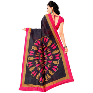 Navy Blue Colored Casual Printed Bhagalpuri Silk Saree