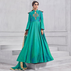 Green Colored Partywear Designer Embroidered Tapeta Silk Gown
