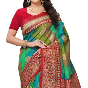 Green Colored Festive Wear Woven Bhagalpuri Silk Saree