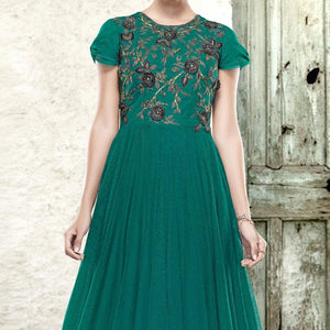 Green-Black Colored Designer Embroidered Partywear Net Gown