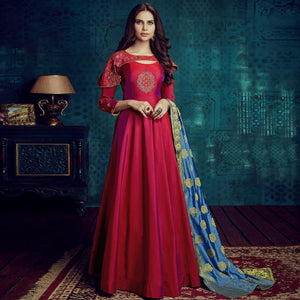 Pink Colored Party Wear Embroidered Tapetta Silk Gown