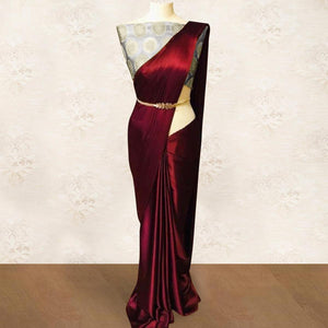 Maroon Colored Party Wear Satin Saree