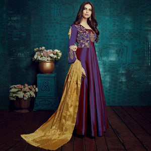 Purple Colored Party Wear Embroidered Tapetta Silk Gown
