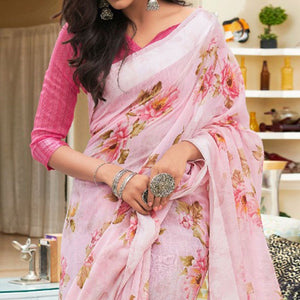 Pink Colored Casual Floral Printed Linen-Art Silk Saree