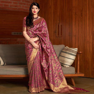 Pink Colored Festive Wear Printed Banarasi Silk Saree
