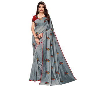 Gray Colored Partywear Embroidered Chanderi Saree