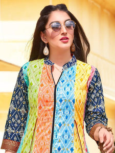 Multicolor Front Slit Printed Kurti