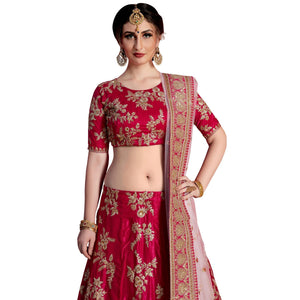Red Colored Partywear Embroidered Velvet Silk Lehenga Choli