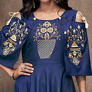 Navy Blue Colored Party Wear Embroidered Tapeta Silk Gown