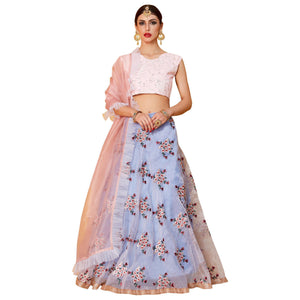 Pink-Light Blue Colored Partywear Embroidered Organza Lehenga Choli