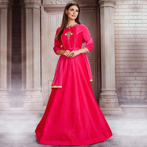 Hot Pink Colored Partywear Embroidered Silk Gown