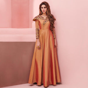 Light Orange Colored Party Wear Embroidered Silk Gown