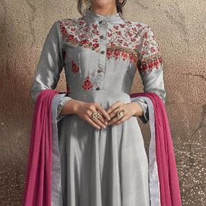 Light Gray Colored Partywear Embroidered Tapeta Silk Gown