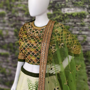 Green Colored Partywear Embroidered Art Silk Lehenga Chol
