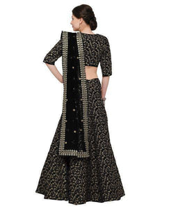 Black Colored Designer Heavy Embroidered Raw Silk Lehenga
