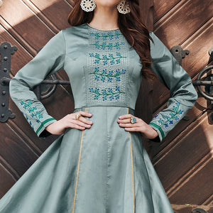 Teal Gray Colored Partywear Embroidered Silk Satin-Georgette Gown