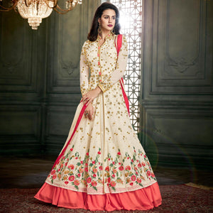 White Colored Party Wear Embroidered Georgette Lehenga Suit