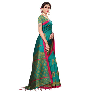 Turquoise Green Colored Festive Wear Art Silk Saree