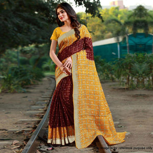 Maroon Colored Casual Printed Art Silk Saree