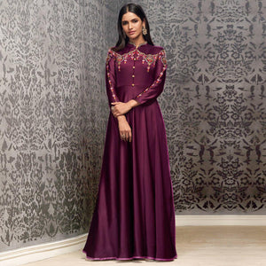 Dark Purple Colored Partywear Embroidered Glowing Georgette Gown