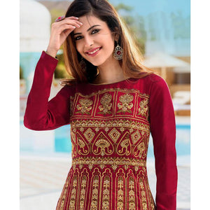 Red Colored Party Wear Embroidered Net Lehenga Kameez