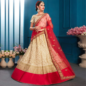 Beige Colored Partywear Embroidered Satin Lehenga Choli