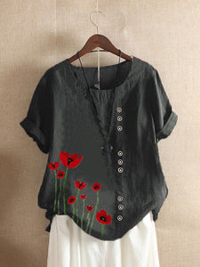 O-neck Flowers Print Button Plus Size Casual T-shirt