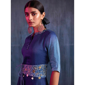 Blue Colored Partywear Embroidered Viscose Gown