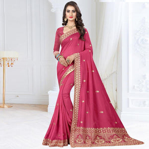 Pink Colored Partywear Embroidered Art Silk Saree