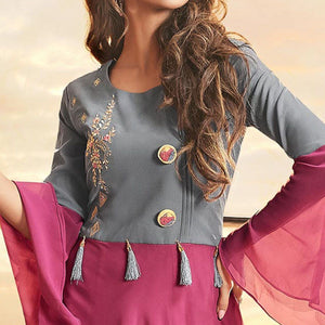 Grey-Pink Colored Partywear Embroidered Georgette Gown