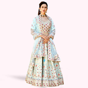 Light Blue Colored Partywear Embroidered Satin Lehenga Choli
