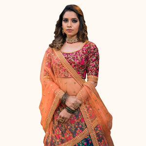 Blue-Red Colored Partywear Embroidered Mulberry Silk Lehenga Choli