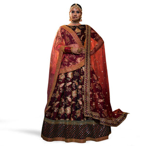 Purple Colored Partywear Embroidered Satin Georgette Lehenga Kameez