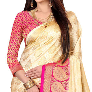Cream-Rani Pink Colored Festive Wear Art Silk Saree