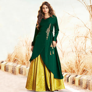 Green-Yellow Colored Partywear Embroidered Jacquard Lehenga With Satin Silk Koti