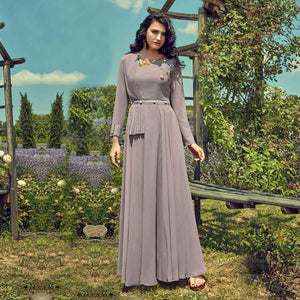 Grey Colored Partywear Embroidered Georgette Gown